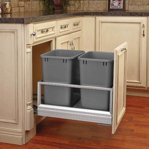 Rev-A-Shelf Double Trash Pullout 27 Quart-Silver 5149-1527DM-217