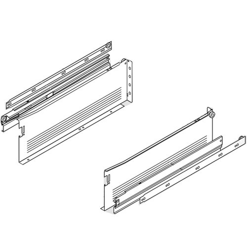 "Blum Metabox Slide 6""H x 20 inch L White with Front Fix Brackets 330H500PC15"