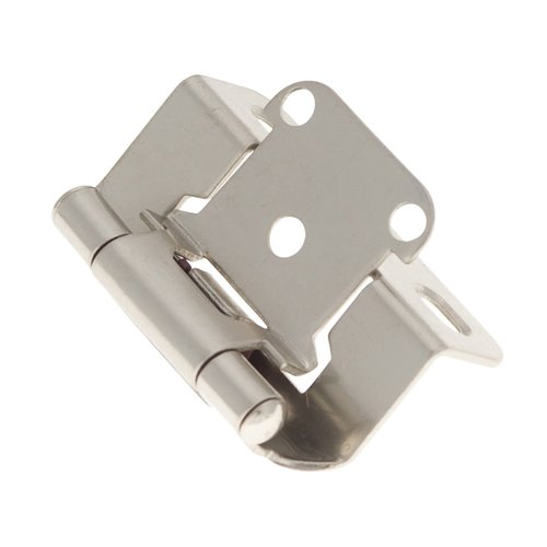 "Hickory Hardware Partial Wrap 1/2"" Overlay Hinge Pair Satin Nickel P2710F-SN"
