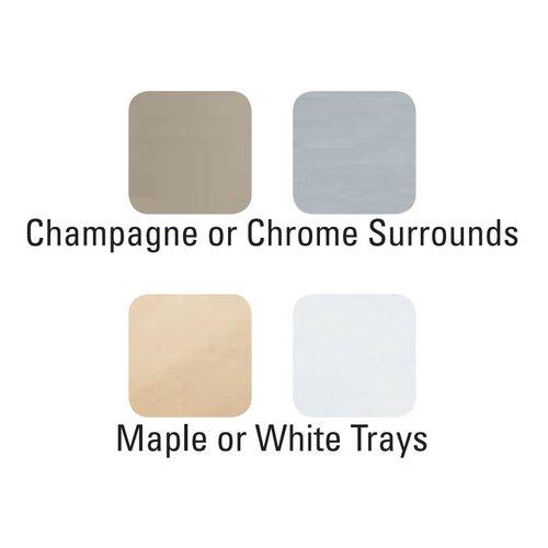 """Kessebohmer Arena Plus Tray Set (2) 16"""" Wide Chrome/White 546.63.234"""