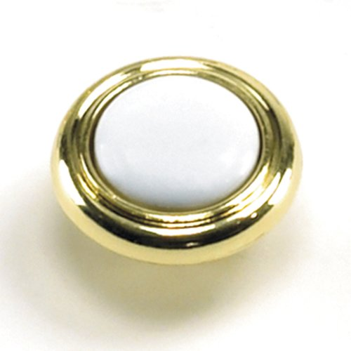 Laurey Hardware First Family 1-1/4 Inch Diameter White/Polished Brass Cabinet Knob 15443
