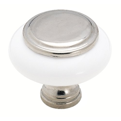 1-1/4 Inch Diameter Polished Chrome/white Cabinet Knob <small>(#BP7624626W)</small>