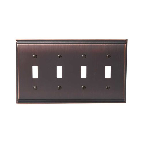 Amerock Candler Four Toggle Wall Plate Oil Rubbed Bronze BP36503ORB