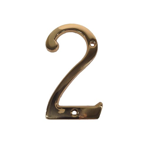 "Don-Jo 4"" House Number ""2"" Bright Brass BN4-2-605"