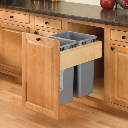 Rev-A-Shelf Double Trash Pullout 50 Quart-Wood 4WCTM-RM-2150DM-2