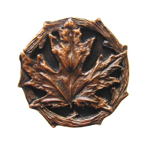 Notting Hill Leaves 1-1/4 Inch Diameter Antique Copper Cabinet Knob NHK-146-AC