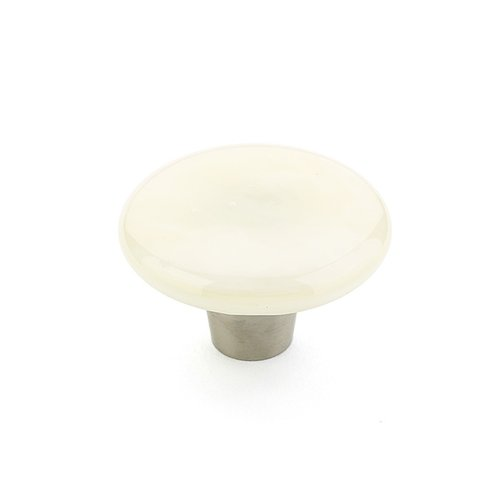 Ice 1-1/2 Inch Diameter Ivory Silk Cabinet Knob <small>(#31-IVS)</small>