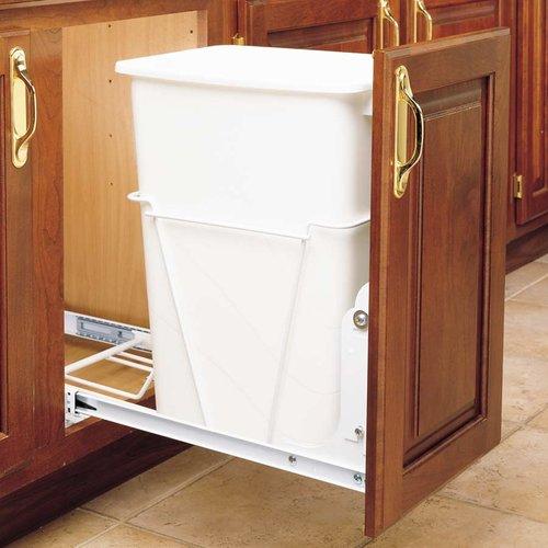 Rev-A-Shelf Single Trash Pullout 50 Quart -White RV-12PB-50