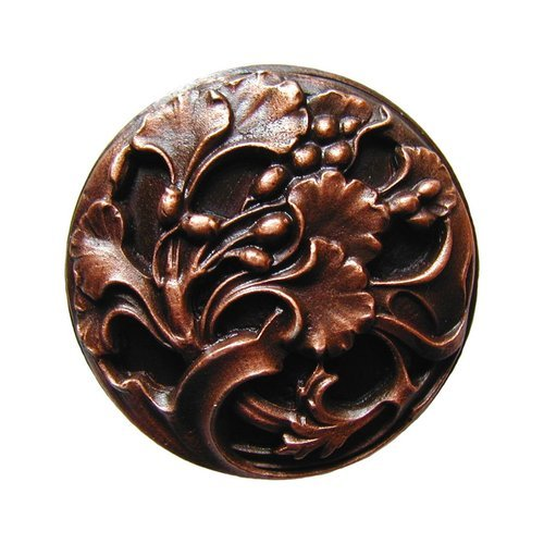 Notting Hill Floral 1-3/8 Inch Diameter Antique Copper Cabinet Knob NHK-102-AC