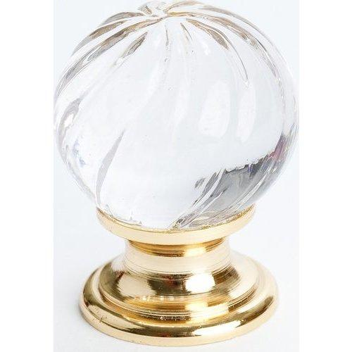 Berenson Europa 1-3/16 Inch Diameter Clear Crystal Swirl/Gold Cabinet Knob 7031-907-C