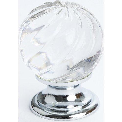 Berenson Europa 1-3/16 Inch Diameter Clear Crystal Swirl/Chrome Cabinet Knob 7032-926-C