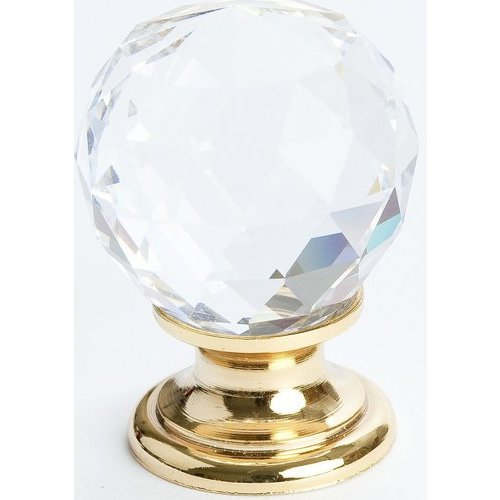 Berenson Europa 1-3/16 Inch Diameter Faceted Crystal Ball/Gold Cabinet Knob 7041-907-C