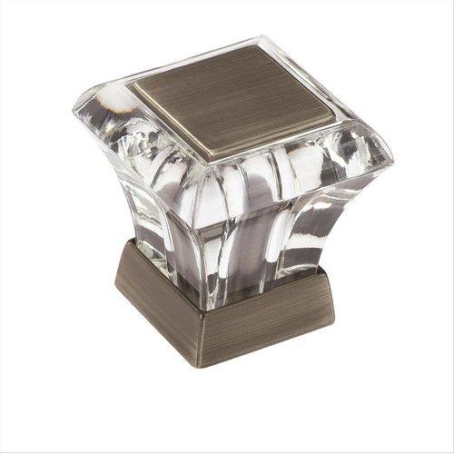 Amerock Abernathy 1 Inch Diameter Acrylic/Antique Silver Cabinet Knob BP29460CAS