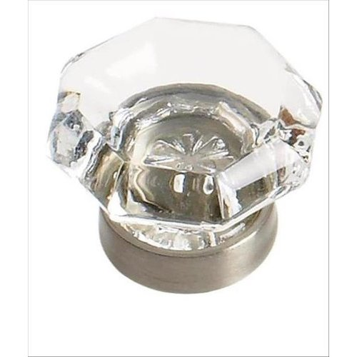 Traditional Classics 1 Inch Diameter Clear Glass/Satin Nickel Cabinet Knob <small>(#BP55266CG10)</small>