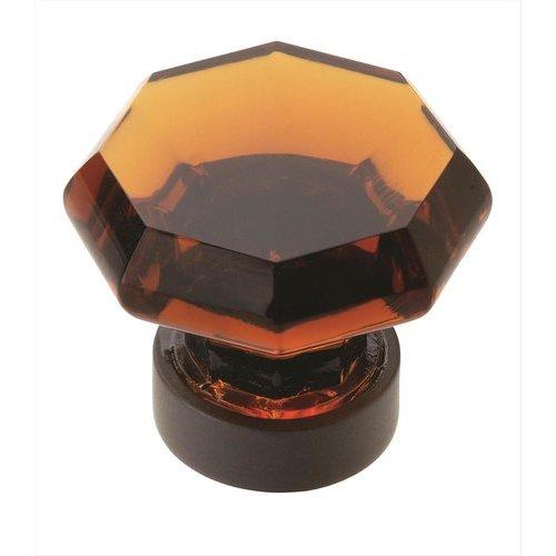 Amerock Traditional Classics 1-1/4 Inch Diameter Amber Glass/Black Bronze Cabinet Knob BP55268ABBR