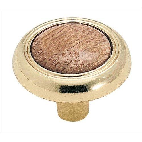 Amerock Allison Value Hardware 1-1/4 Inch Diameter Oak/bright Brass Cabinet Knob BP76244O3