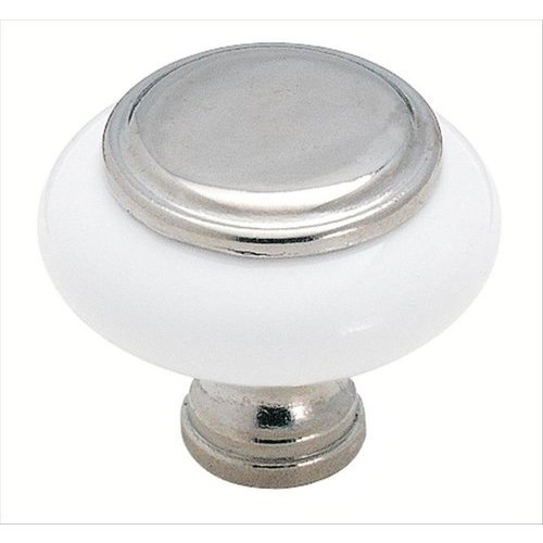 Amerock 1-1/4 Inch Diameter Polished Chrome/white Cabinet Knob BP7624626W