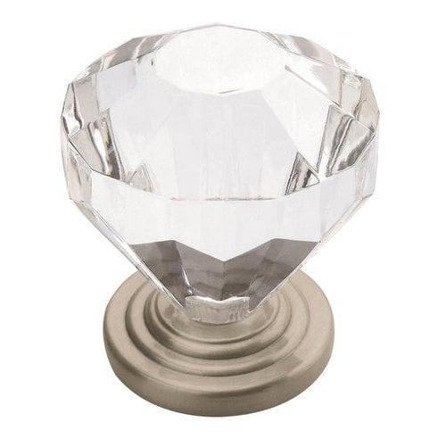 Amerock Traditional Classics 1-1/4 Inch Diameter Crystal/Satin Nickel Cabinet Knob BP14303-CG10