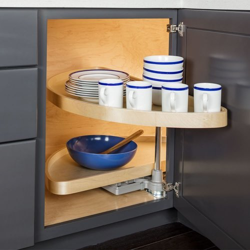 Hardware Resources 32 Inch Half-Moon Lazy Susan Set with Wood Trays HMLS-W-3212