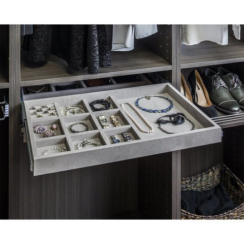 Hardware Resources 10 Compartment Felt Jewelry Organizer With Ring Insert Grey Jd1 24r Gr Cabinetparts Com