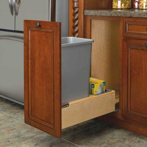 Rev-A-Shelf Single Trash Pullout 35 Quart-Wood 4WCBM-15DM-1
