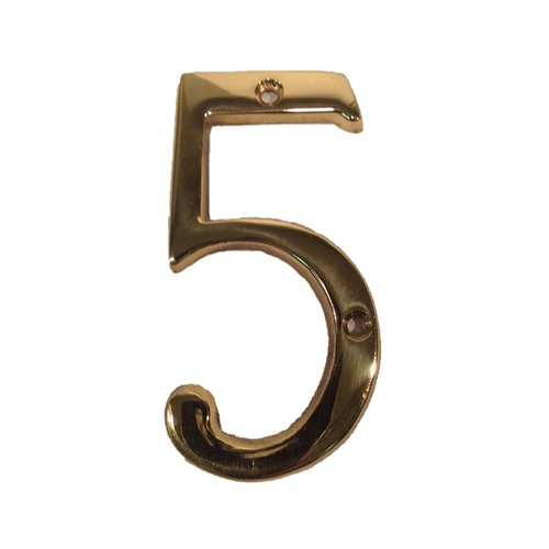 "Don-Jo 6"" House Number ""5"" Bright Brass BN6-5-605"