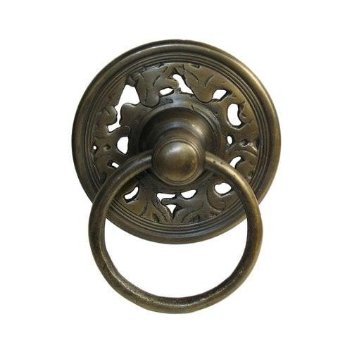 Gado Gado Ring Pulls 3-1/8 Inch Diameter Unlacquered Antique Brass Cabinet Ring Pull HRP1014