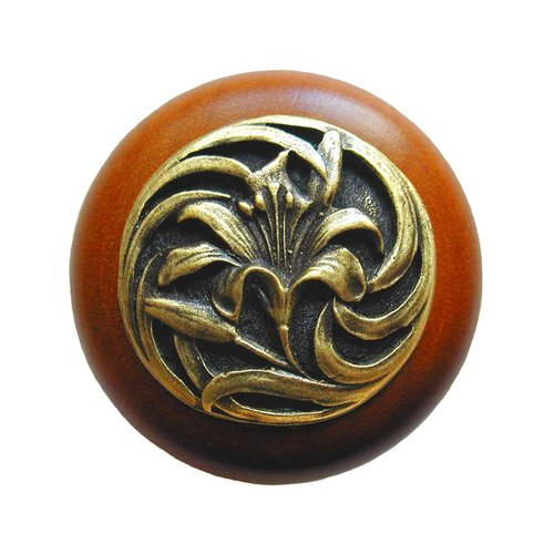Notting Hill Floral 1-1/2 Inch Diameter Antique Brass Cabinet Knob NHW-703C-AB