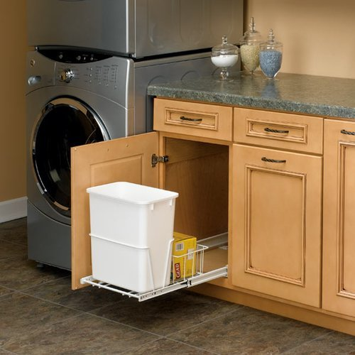 Rev-A-Shelf Single Trash Pullout 20 Quart-White RV-14PB-S