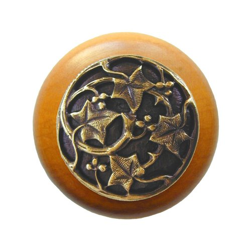 Notting Hill Leaves 1-1/2 Inch Diameter Antique Brass Cabinet Knob NHW-715M-AB