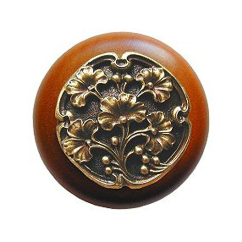 Notting Hill Leaves 1-1/2 Inch Diameter Antique Brass Cabinet Knob NHW-702C-AB