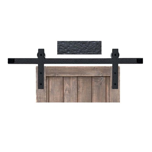 Acorn Manufacturing Basic Barn Door Rolling Hardware & 5' Track Rough Iron BH3BI-5