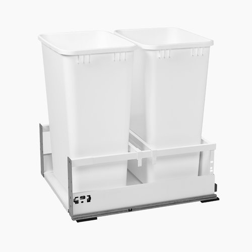 "TWCSC Double Trash Pullout For 21"" Cabinet 50 Quart White <small>(#TWCSC-2150DM-2)</small>"