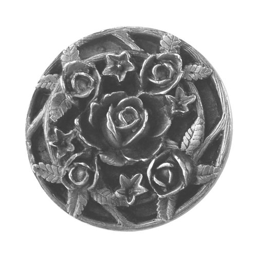 Notting Hill Floral 1-1/16 Inch Diameter Antique Pewter Cabinet Knob NHK-126-AP