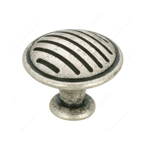Richelieu Art Deco 1-3/16 Inch Diameter Old Silver Cabinet Knob BP16930139