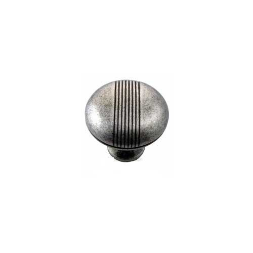 MNG Hardware Striped 1-1/2 Inch Diameter Distressed Silver Cabinet Knob 13211