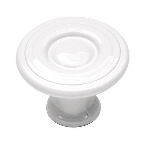 Hickory Hardware Conquest 1-1/8 Inch Diameter White Cabinet Knob P14402-W