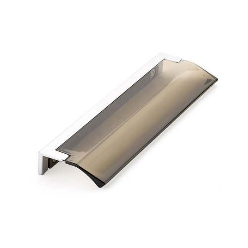 "Schaub and Company Positano Edge Pull 5-1/16"" C/C Polished Chrome and Smoke 324-26-SM"