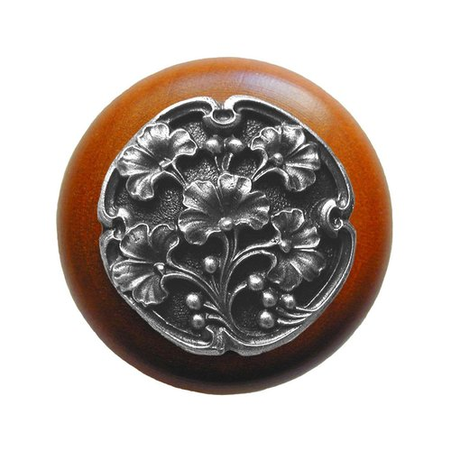 Notting Hill Leaves 1-1/2 Inch Diameter Antique Pewter Cabinet Knob NHW-702C-AP