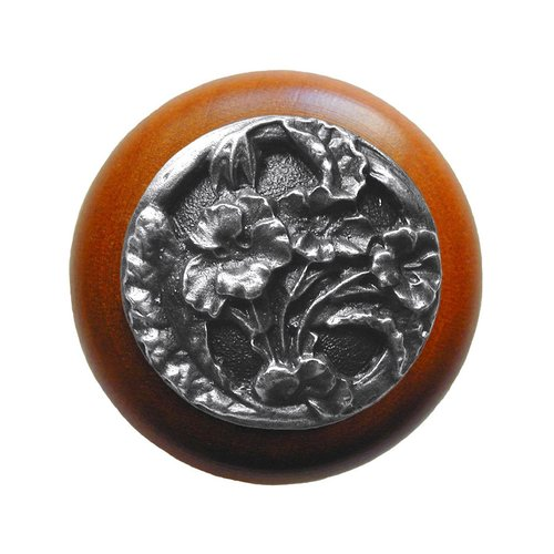 Notting Hill Floral 1-1/2 Inch Diameter Antique Pewter Cabinet Knob NHW-704C-AP