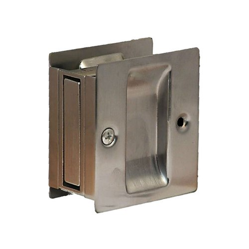 Pocket Door Lock Passage 2-1/2 inch x 2-3/4 inch Satin Chrome <small>(#PDL-100-626)</small>