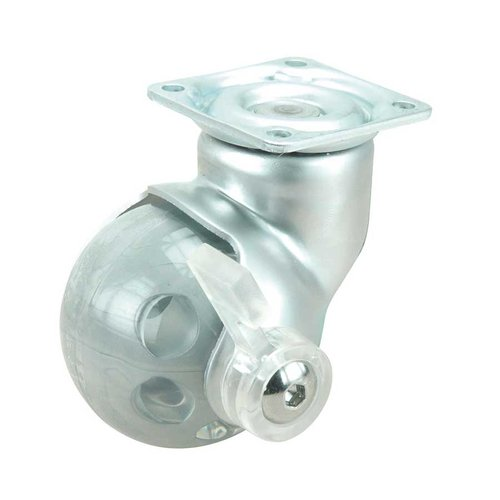 Ball Caster With Swivel & Brake- Satin Chrome <small>(#75002020501)</small>
