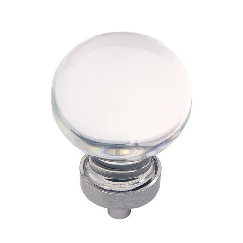 "Hickory Hardware Gemstone Knob 1-3/8"" Dia Clear Glass & Satin Nickel HH075853-GLSN"