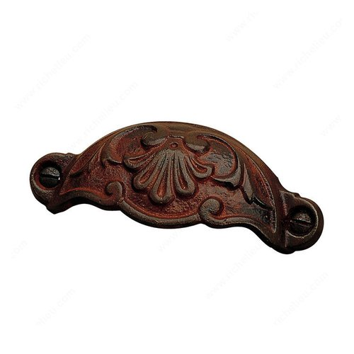 Richelieu Forged Iron 3-5/8 Inch Center to Center Rust Cabinet Cup Pull 202192800