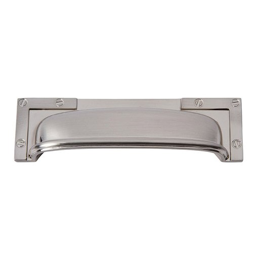 "Campaign L Bracket Cup Pull 3-3/4"" C/C Brushed Nickel <small>(#382-BRN)</small>"