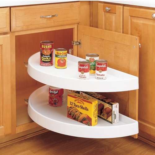 "Rev-A-Shelf 6882 2 Shelf Pivot/Slide Half Moon Lazy Susan 39""-White 6882-39-11-570"