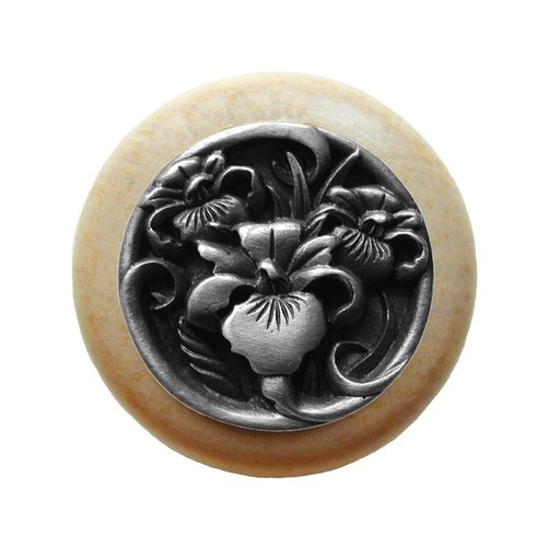 Notting Hill Floral 1-1/2 Inch Diameter Antique Pewter Cabinet Knob NHW-728N-AP