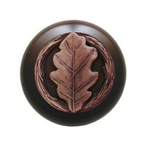 Notting Hill Leaves 1-1/2 Inch Diameter Antique Copper Cabinet Knob NHW-744W-AC