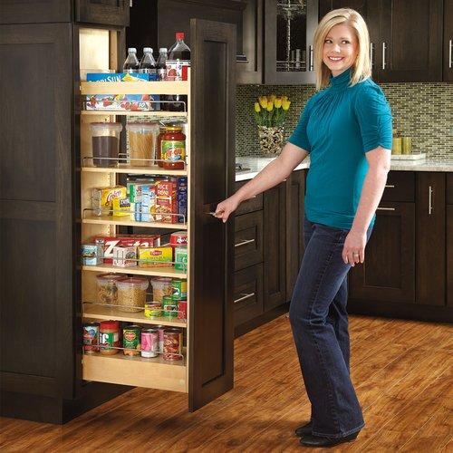 "Rev-A-Shelf 5"" W X 58"" H Wood Pantry With Slide 448-TP58-5-1"