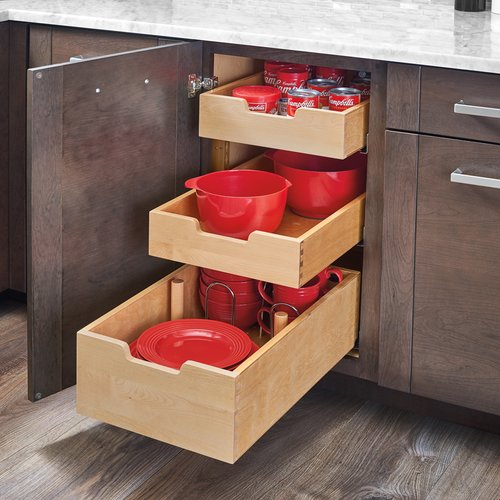 Rev-A-Shelf Pilaster Three Drawer Kit For 18 inch Full Height Cabinet 4PIL-18SC-3
